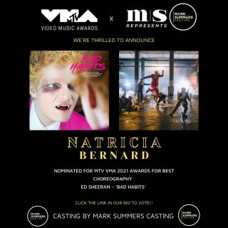 SO THRILLED TO ANNOUNCE @natriciabernard_choreography HAS BEEN NOMINATED FOR THIS YEARS @mtv VMA'S 👏🏼⚡️   @natriciabernard_choreography has been nominated for her choreography in @teddysphotos new music video 'Bad Habits' ⚡️   @natriciabernard_choreography is represented by our sister company @msrepresents 🤘🏼   SO PROUD OF OUR TEAM AT @marksummerscasting FOR CASTING THIS INSANE MUSIC VIDEO!!   @marksummerscd @loulou_mason 👏🏼  #marksummerscasting #marksummers